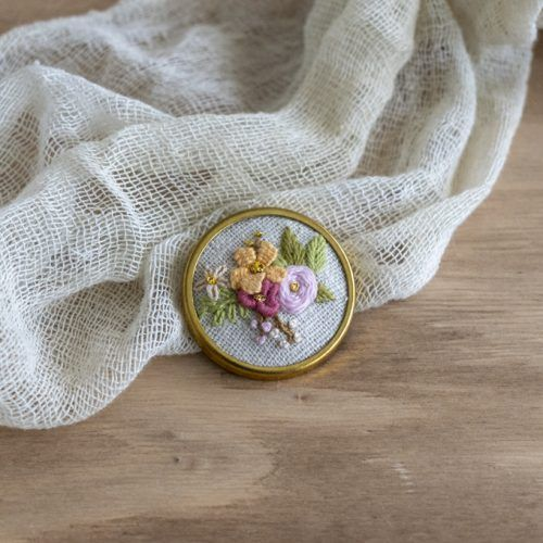 Broche Pin metal flores